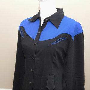 Black Blue Long Sleeve Western Rodeo Dress Sz M